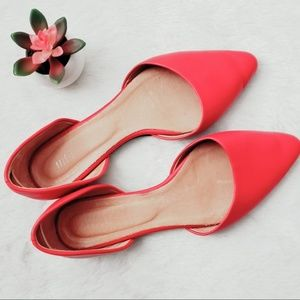 Red J. Jill D'Orsay Pointed Toe Flats